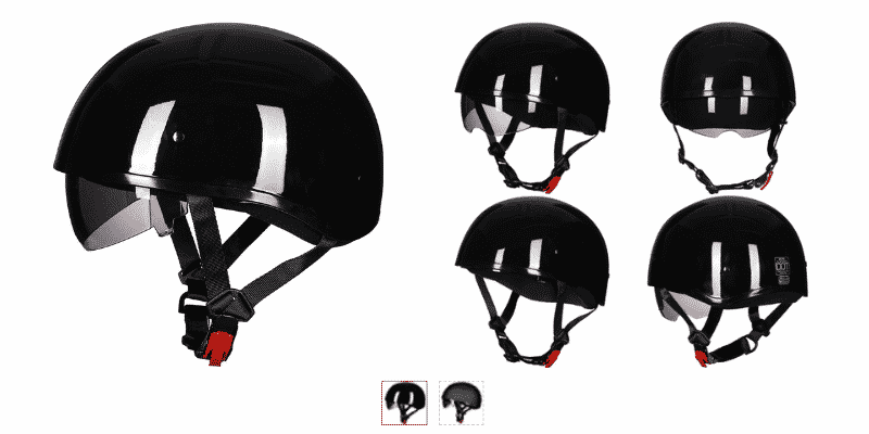 ILM Motorcycle Half Helmet with Sunshield Quick Release Strap Fit for Bike Cruiser Scooter Harley DOT Approved