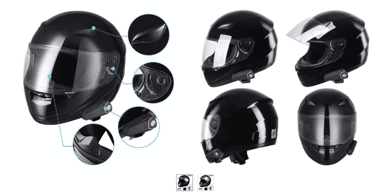 AHR Run-B Bluetooth Motorcycle Full Face Helmet Motorbike Modular Helmet with Wireless Headset Intercom MP3 FM DOT