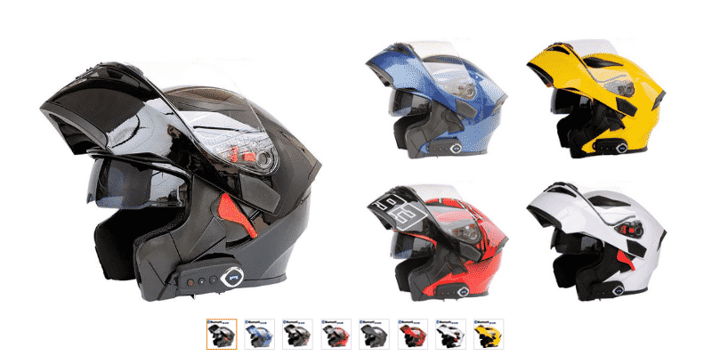 LuanYe Motorcycle Bluetooth Helmets Full Face Flip up Dual Visors Helmet Built-in Integrated Intercom Communication System