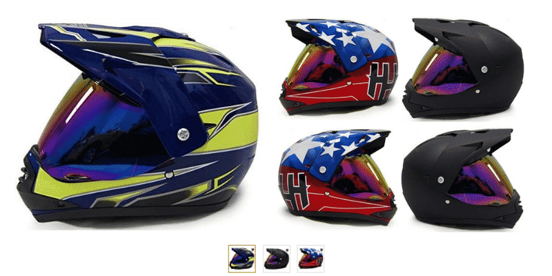 HHH DOT Youth Helmet for Dirtbike ATV Motocross MX Offroad Motorcyle Helmet with VISOR