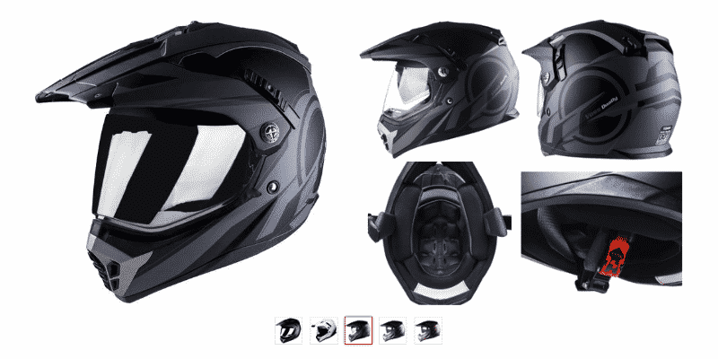 Voss 600 Dually Dual Sport Helmet with Integrated Sun Lens and Removable Peak